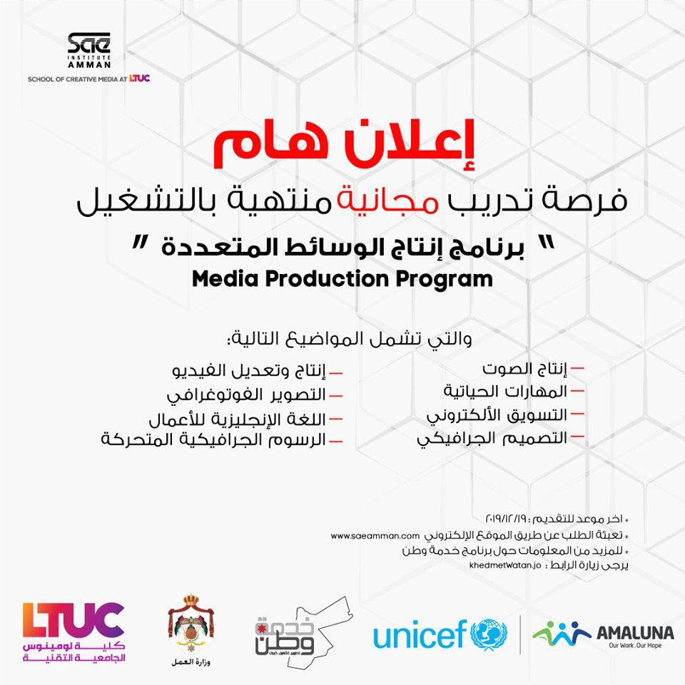 إعلان هام تقدم Sae Institute Amman قسم وسائل الأعلام الأبداعية في Ltuc بالشراكة مع برنامج خدمة وطن و وزارة العمل و Unicef برنامج إنتاج ا School Oly Map