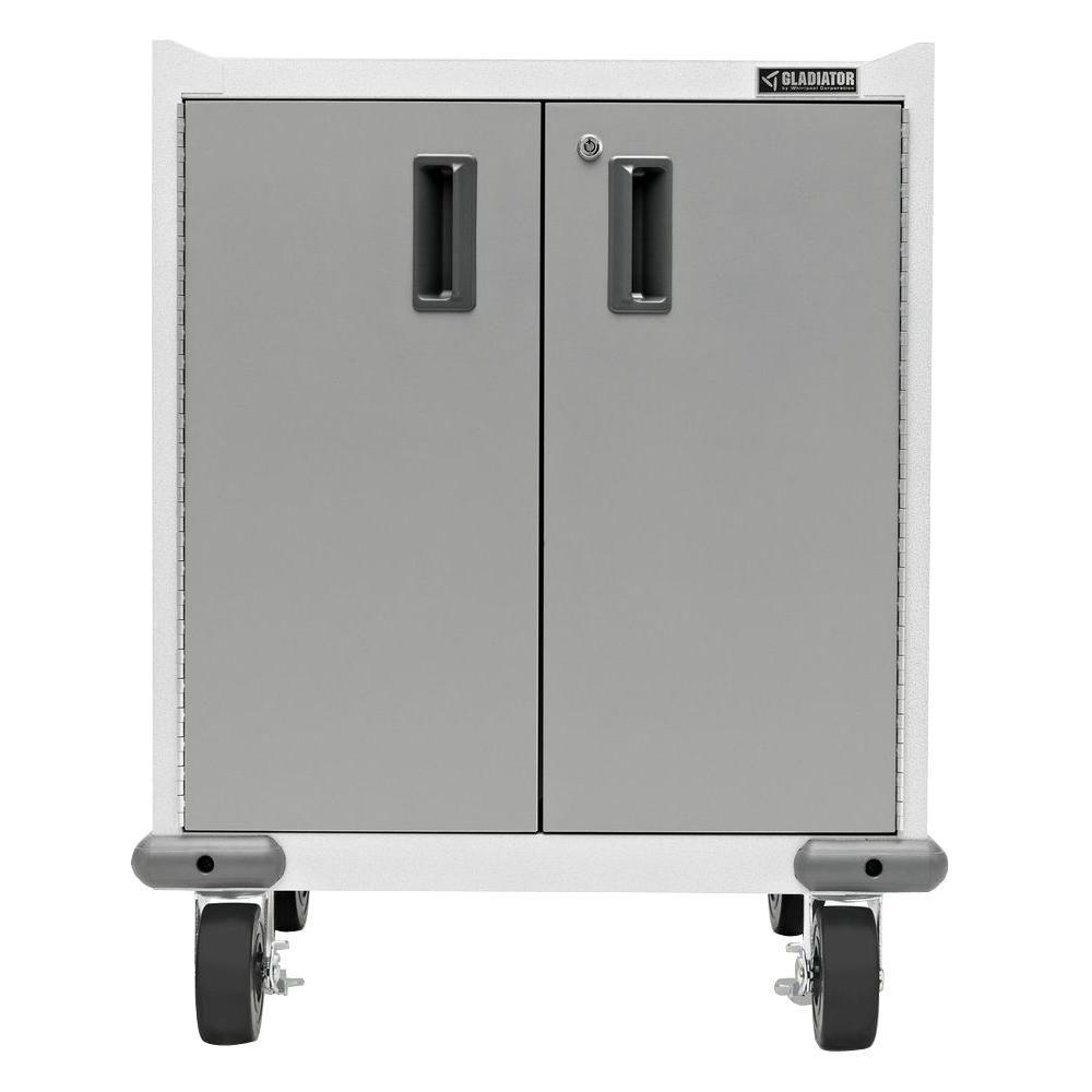 Gladiator Premier Series Pre Assembled 35 In H X 28 In W X 25 In D Steel 2 Door Rolling Garage Cabinet In Silver Tread Garage Cabinets Storage Cabinets Storage