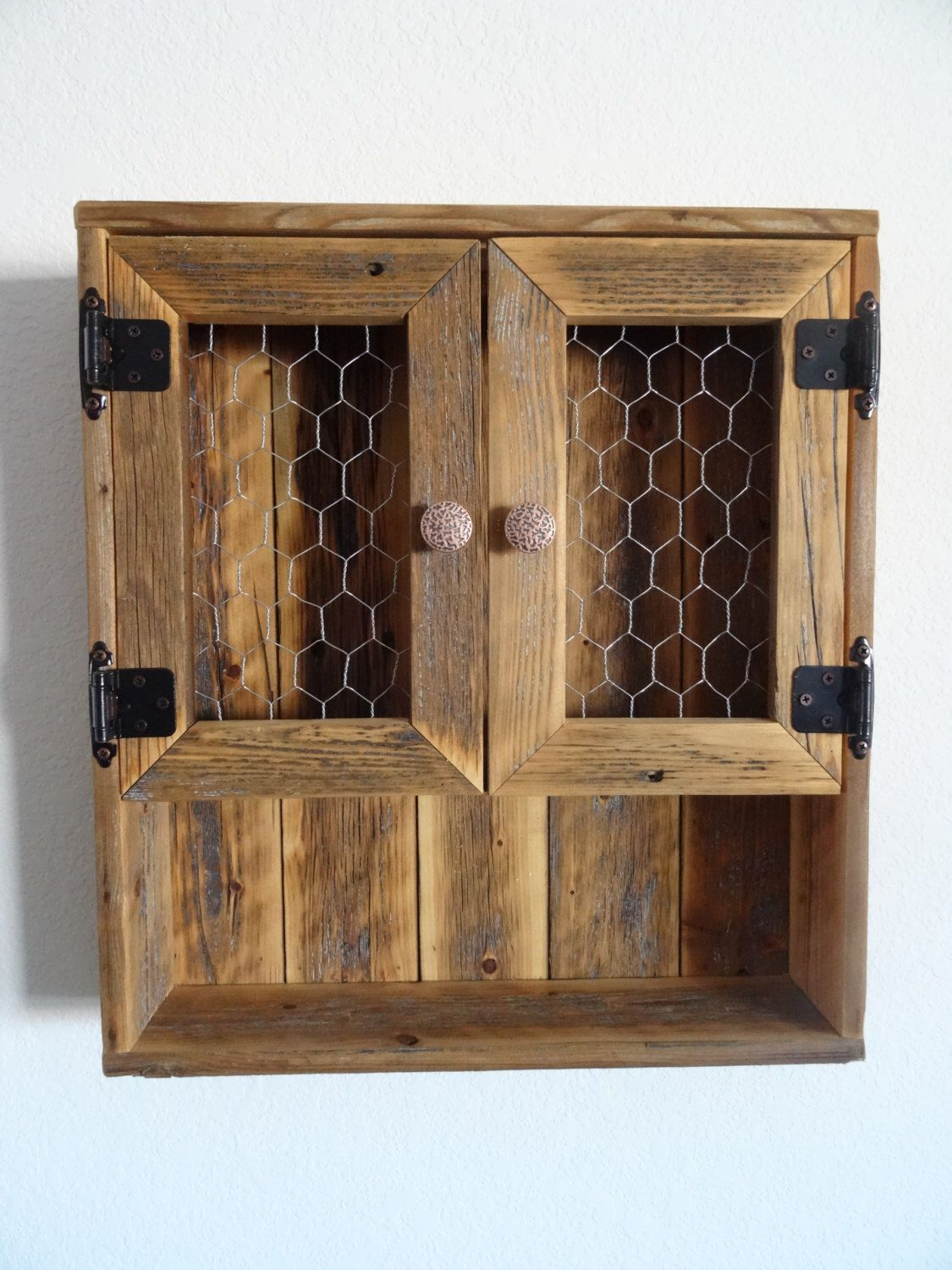 Reclaimed Wood Curio Wall Cabinet - Chicken Wire Doors by ...