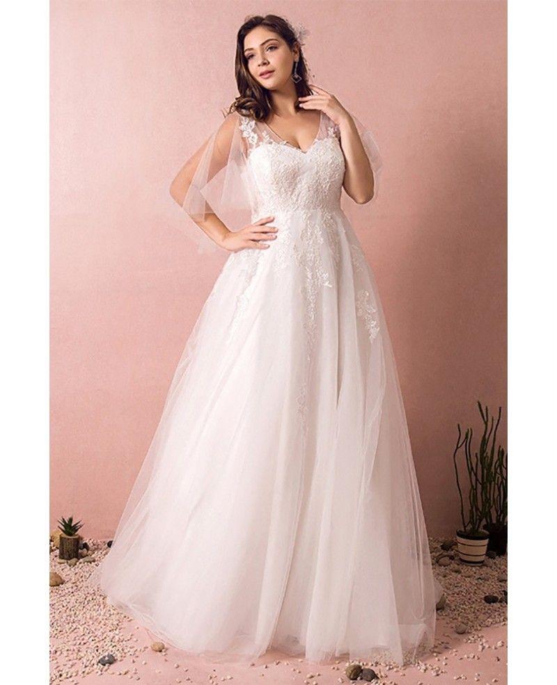Plus Size Tulle Beach Wedding Dress Boho With Sleeves 2018 ...