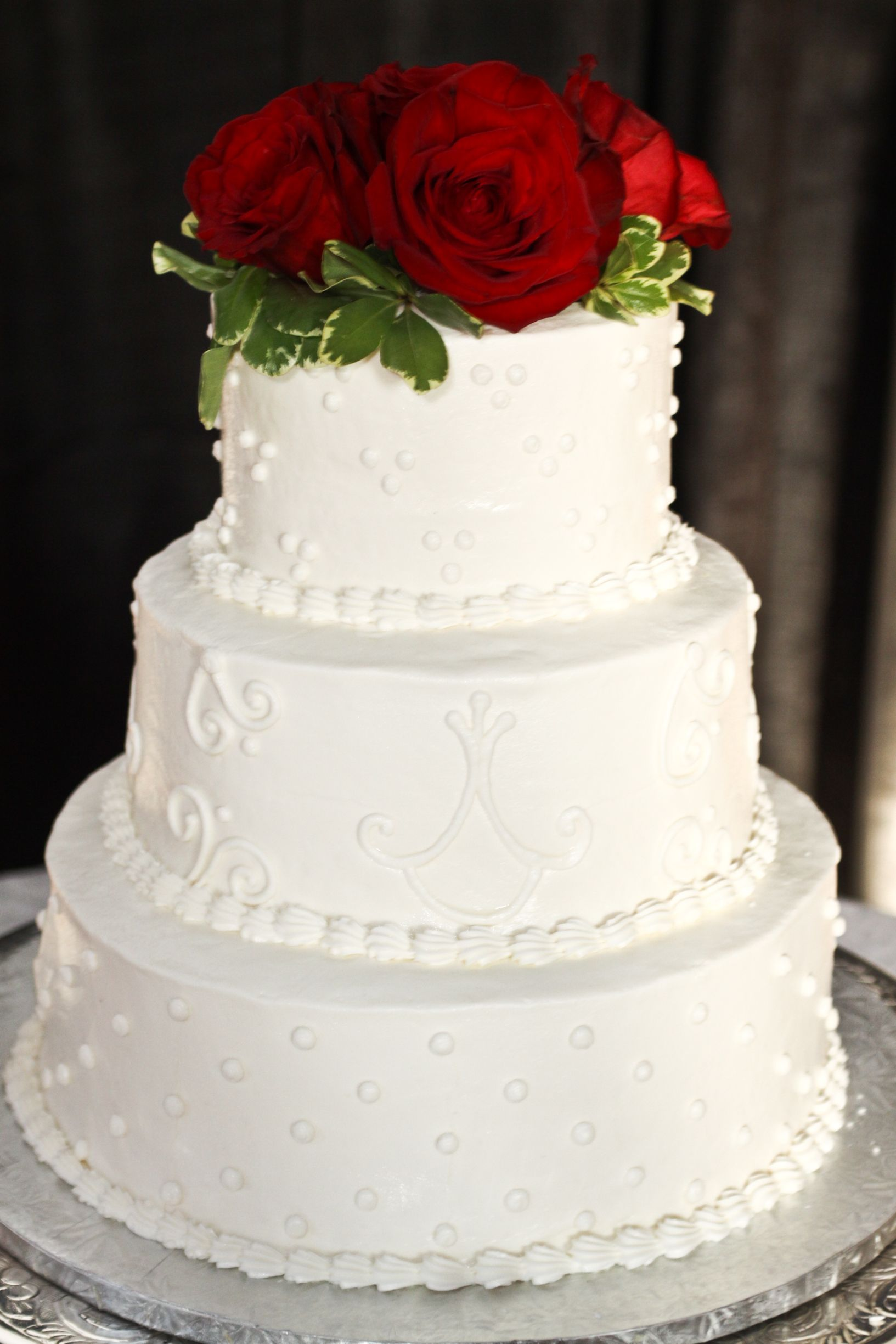 3 Tier Round Wedding Cake with Design and Red Roses | Cakes and ...