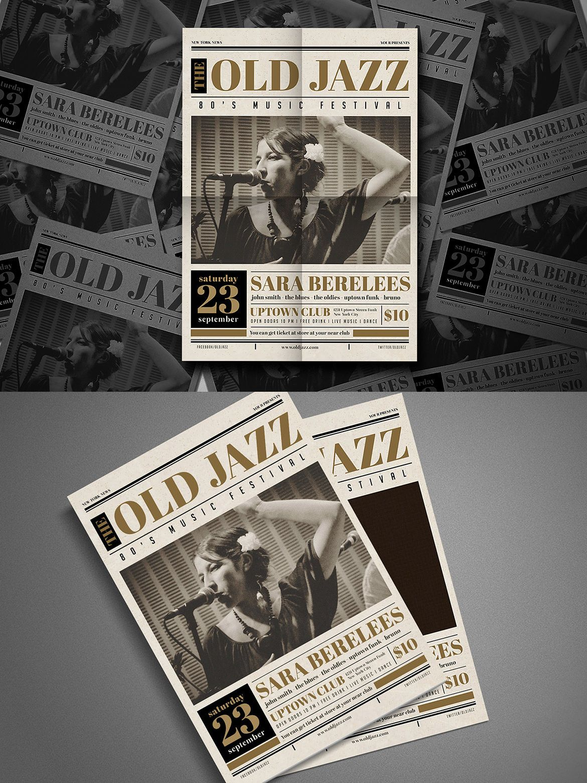 old newspaper jazz flyer template psd red house design pinterest