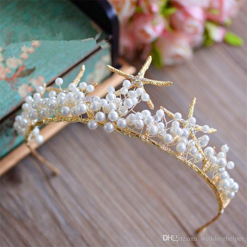 Vintage Wedding Bridal Mermaid Starfish Crown Tiara Crystal Rhinestone Headband Hair Band Jewelry Headdress Pearl Princess Queen Headdress #crowntiara