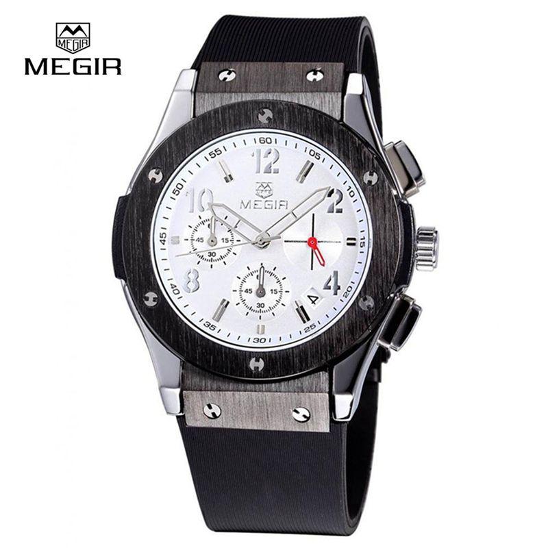 70f8e464478 MEGIR Auto Date Chronograph Men Watch Waterproof Fashion Casual Silicone  Strap Military Sport Watches Clock