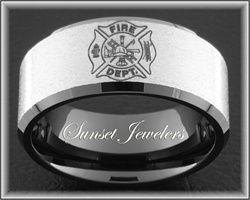 Firefighter Black Tungsten Fireman Maltese Cross Wedding Ring With