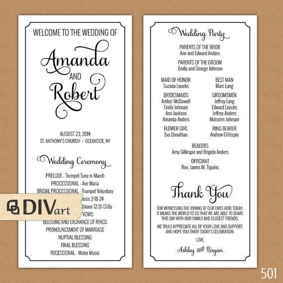 elegant wedding program ceremony program printable files rustic