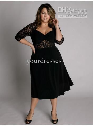2011new style plus size custom made sweetheart neckline tea-length