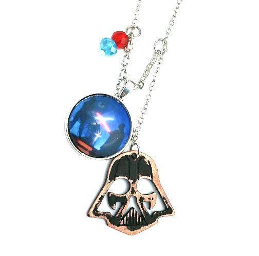 "Vader Lightsaber Star Wars Inspired Beaded Charm 20"" Chain Necklace Silver Tone"