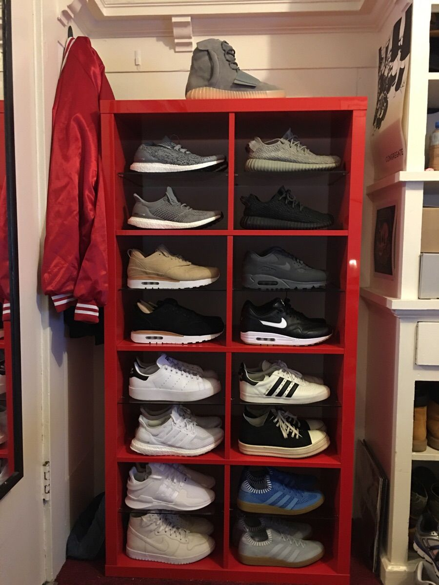 customized an ikea shelf to make the perfect sneaker storage quickcrafter best of diy. Black Bedroom Furniture Sets. Home Design Ideas