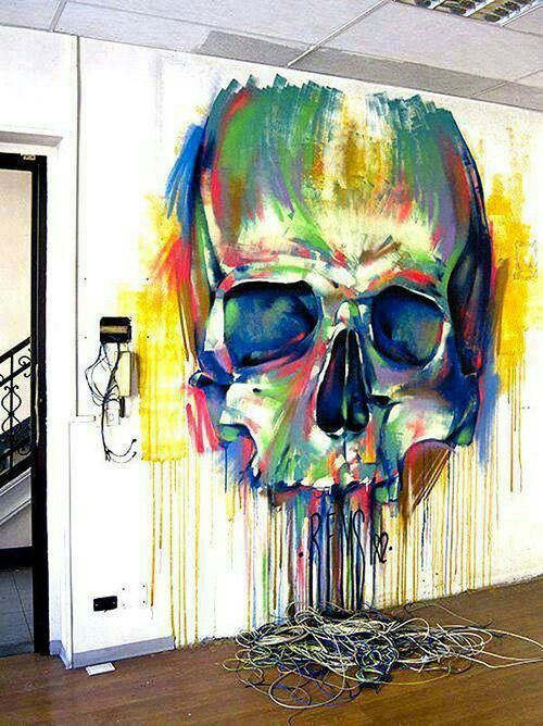 Colorful Graffiti Skull Interior Wall Tag