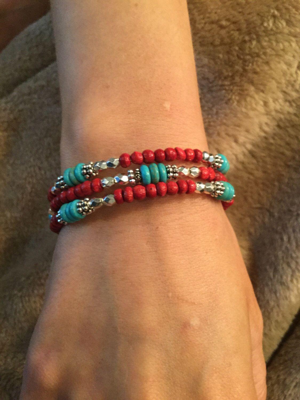 Memory wire beaded bracelet by JH1955 on Etsy https://www.etsy.com/listing/496522701/memory-wire-beaded-bracelet