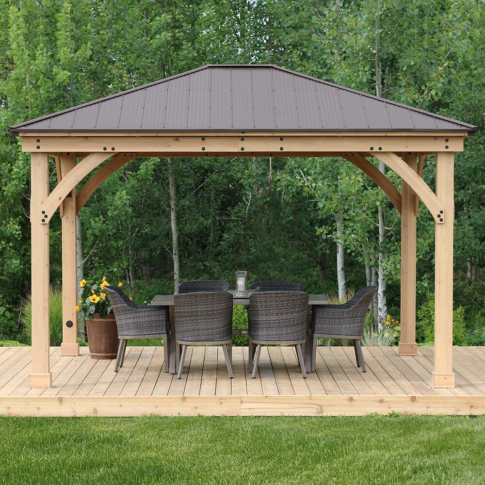 Meridian 12 Ft W X 14 Ft D Solid Wood Patio Gazebo Patio Gazebo Patio Wood Patio