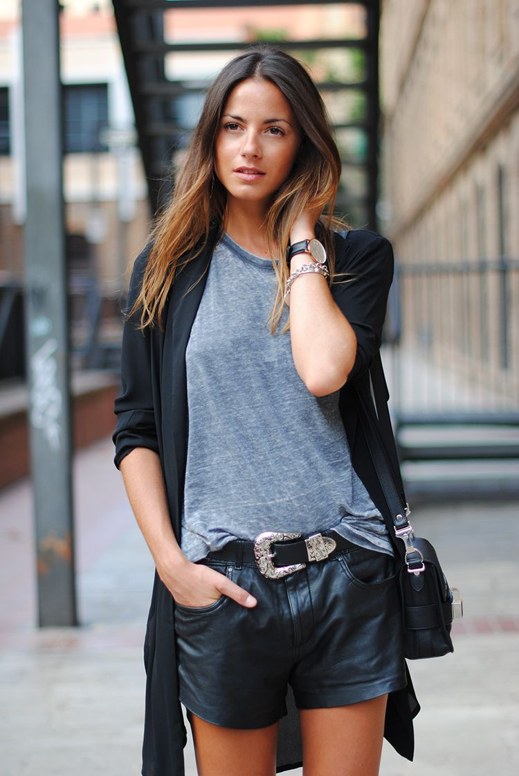 Grey top, black leather shorts and black light cardigan