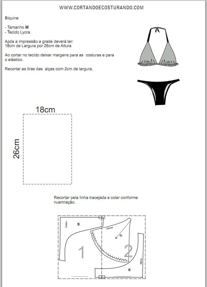Molde Biquini M | Sewing Ideas | Pinterest | Bikini pattern, Sewing ...