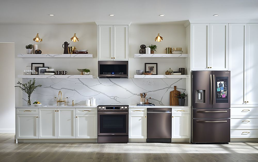 Samsung Family Hub 27 7 Cu Ft 4 Door French Fingerprint Resistant Refrigerator Tuscan Stainless Steel Rf28r7551dt Best Buy In 2021 Kitchen Design