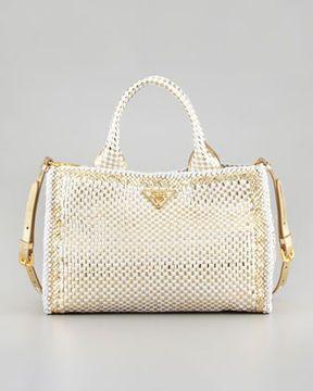 c11ca413a92aa5 Prada Two-Tone Madras Small Tote Bag, Gold/White on shopstyle.com ...