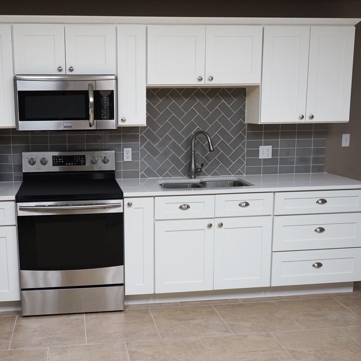 10 Ft. Run Kitchen Cabinets Bundle in Shaker White with ...