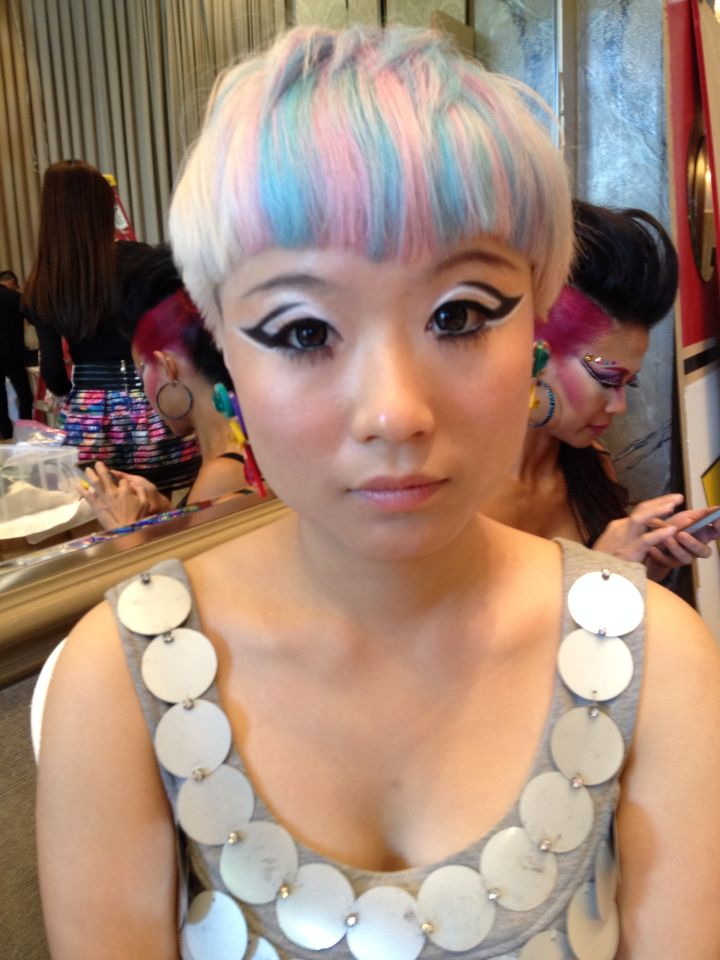 Cotton candy hair color style from the 60s Vidal Sassoon haircut