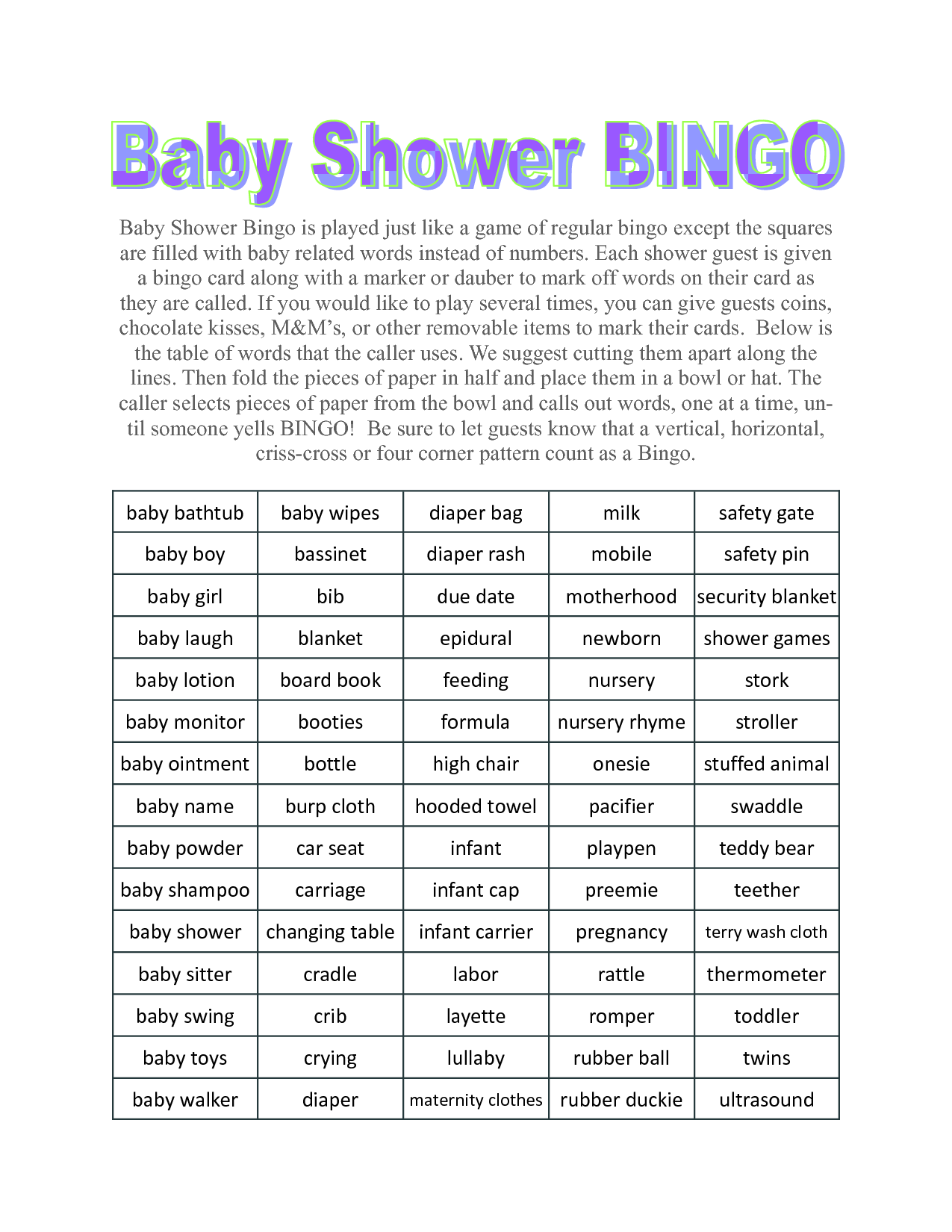 baby shower games party games gender reveal bingo game of shower