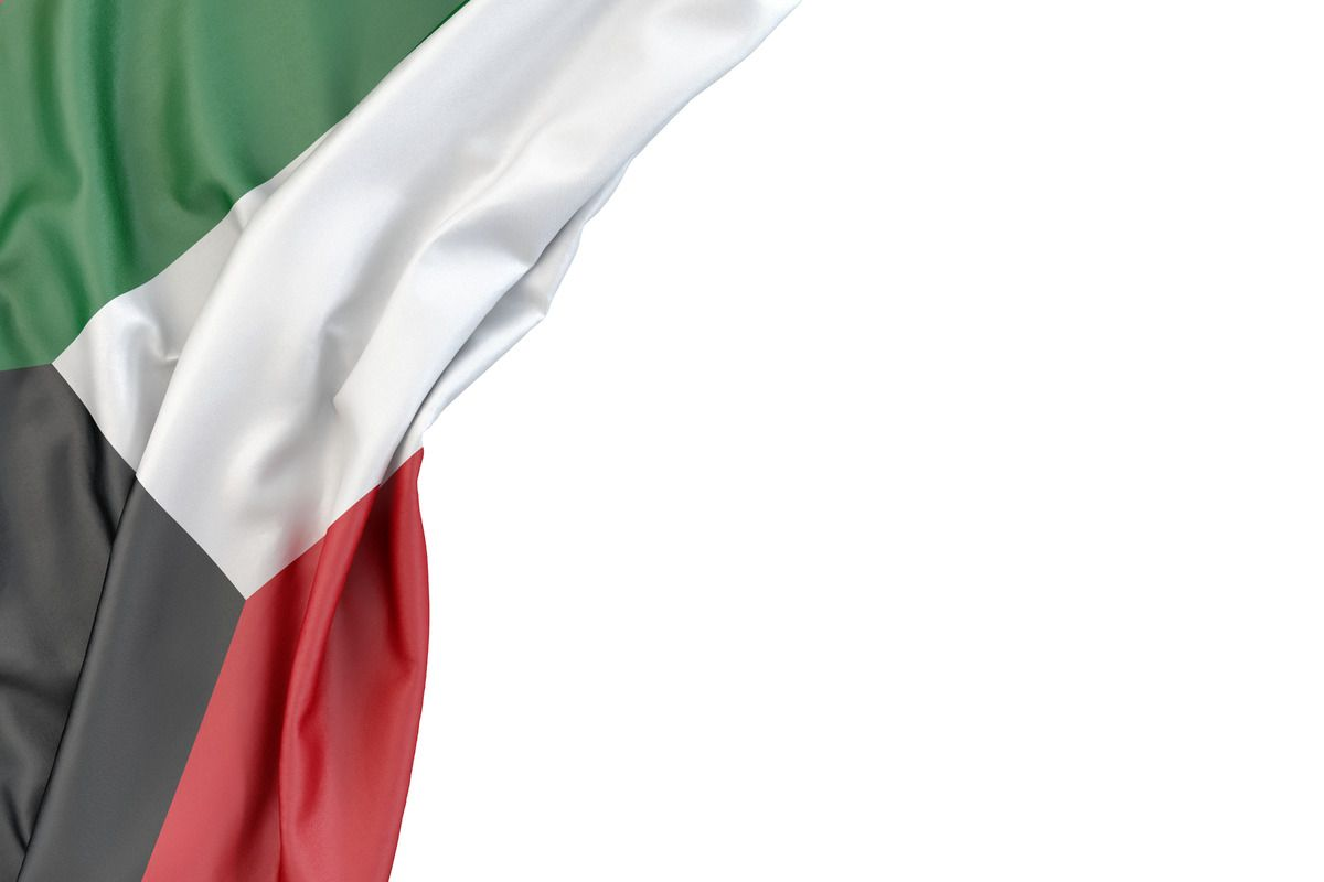 Flag Of Kuwait In The Corner On White Background Isolated