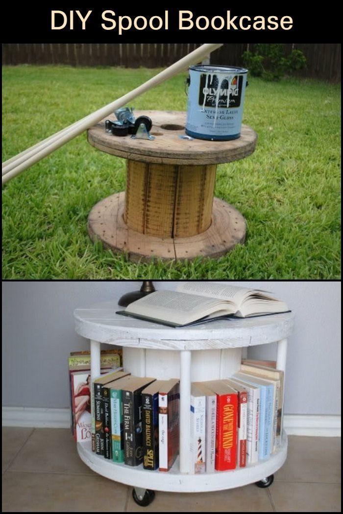 Diy Spool Bookcase Muebles Para Libros Reciclar Para Decorar Y