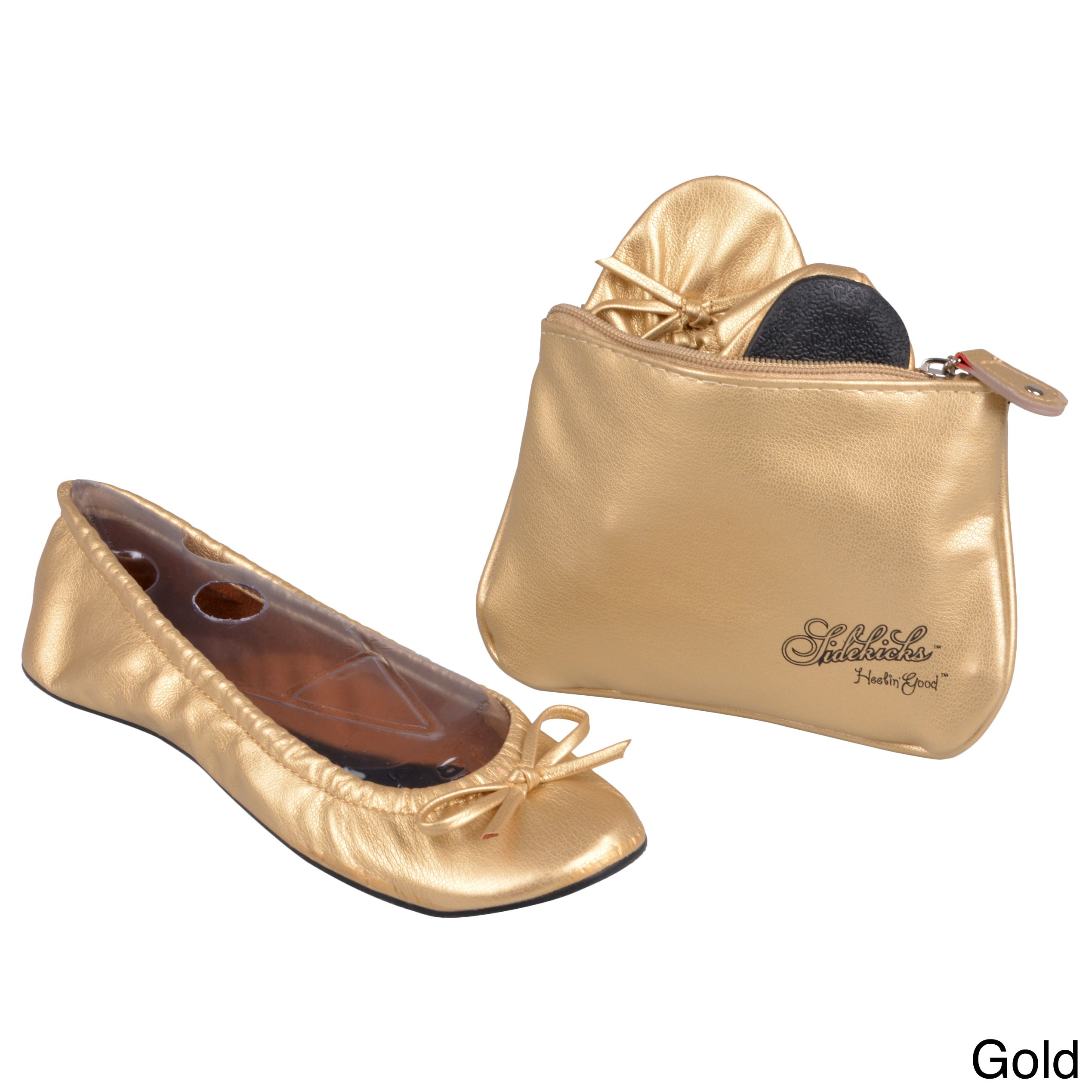 Foldable Flats In A Bag Fashionable Shiny Finish And Small Bow Accent Add Style To These Portable By Sidekicks