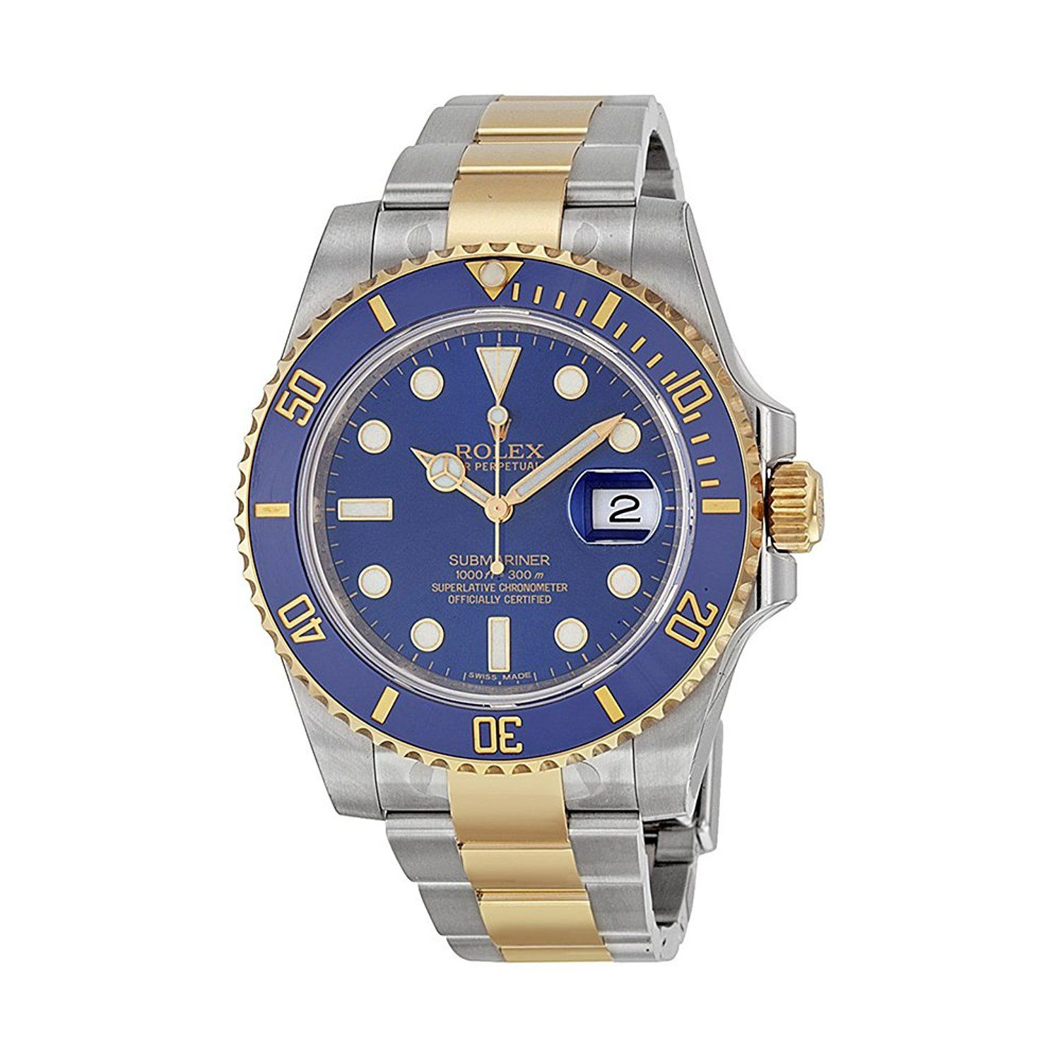 Rolex submariner blue dial stainless steel and k yellow gold rolex
