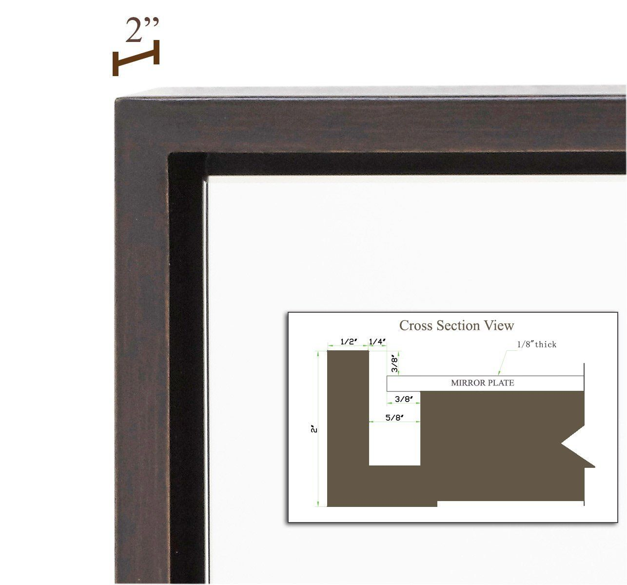 Amazon.com: Clean Large Modern Wenge Frame Wall Mirror ...