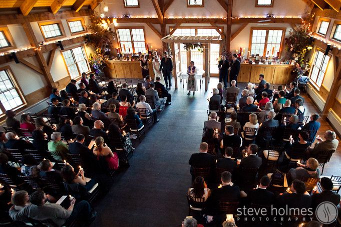 Ceremony Held Inside Reception Hall At Stonewall Farm Photo By Steve Holmes Photography Stonewall Farm England Wedding Venues