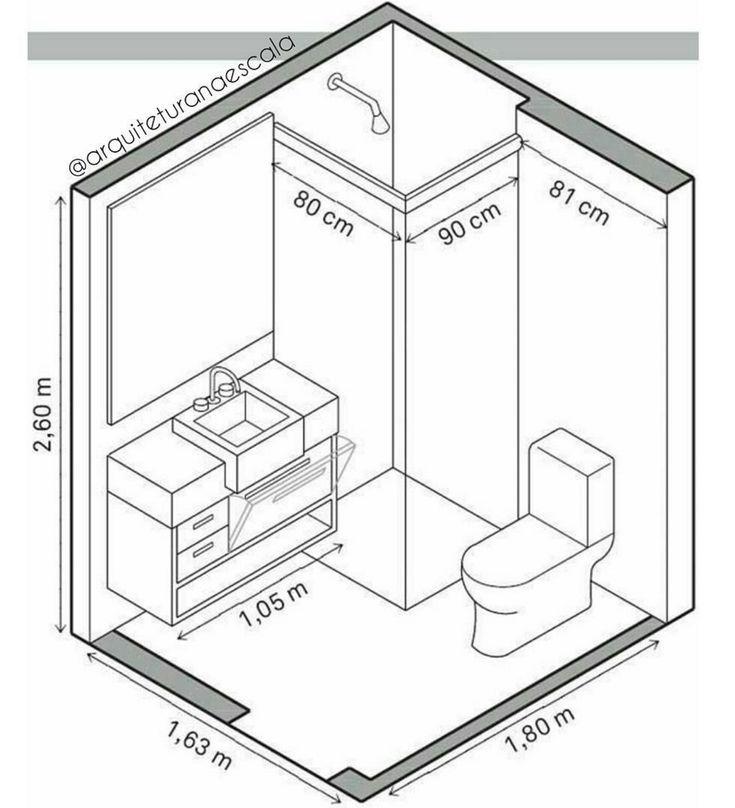 Resultado de imagen de baños pequeños planos medidas | Cuarto de ...