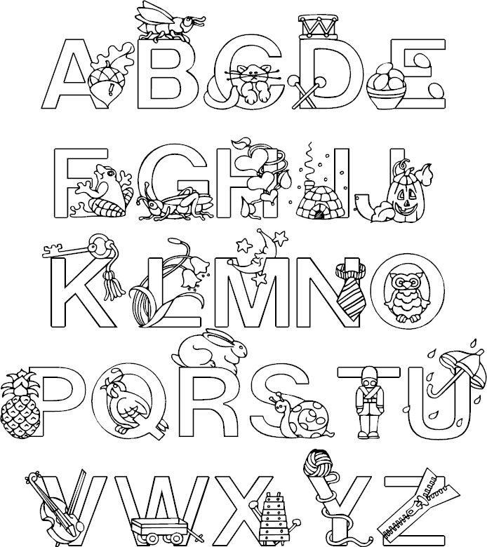 раскраска английский алфавит без картинок