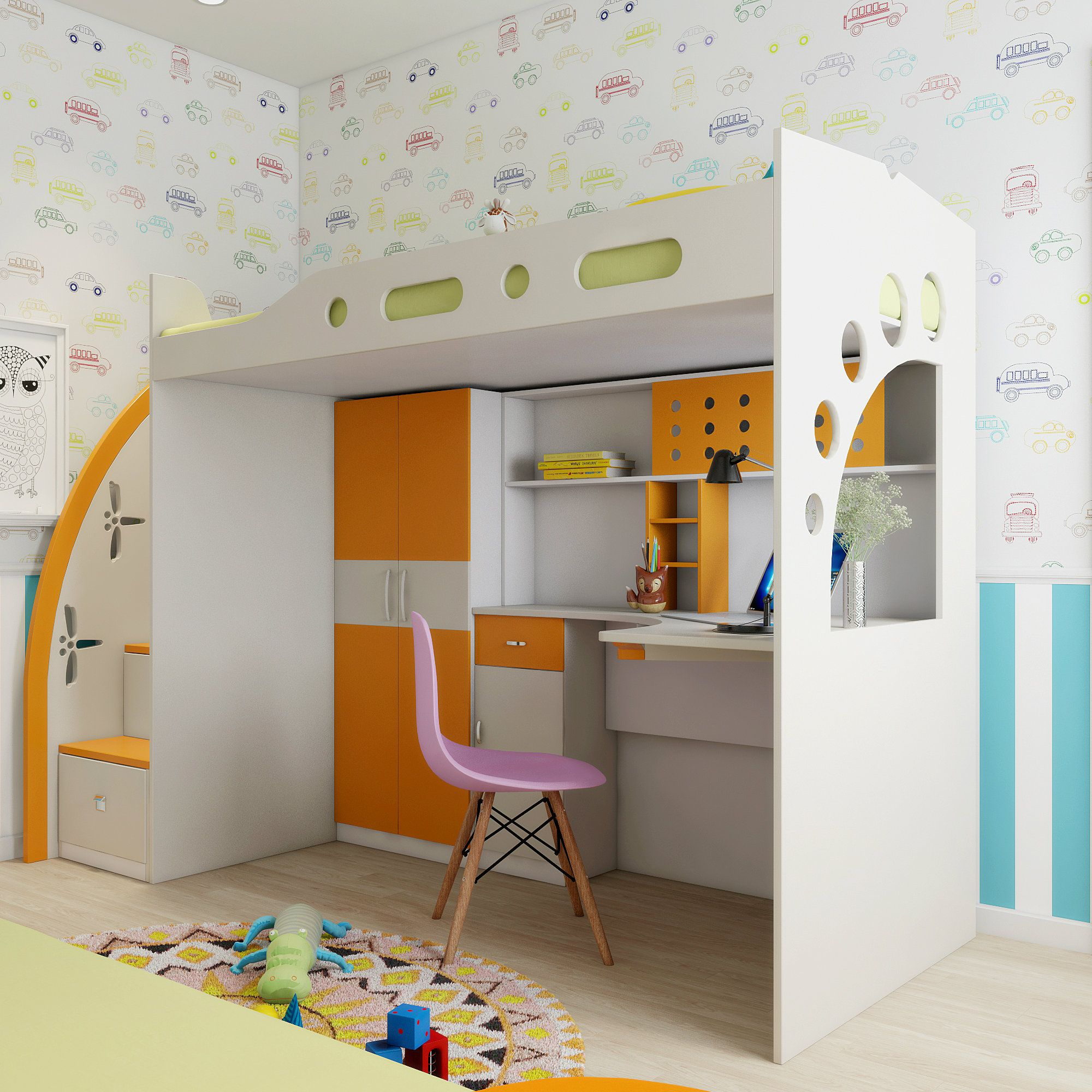 Give your kid a playful room with a study cum bed. Playful ...