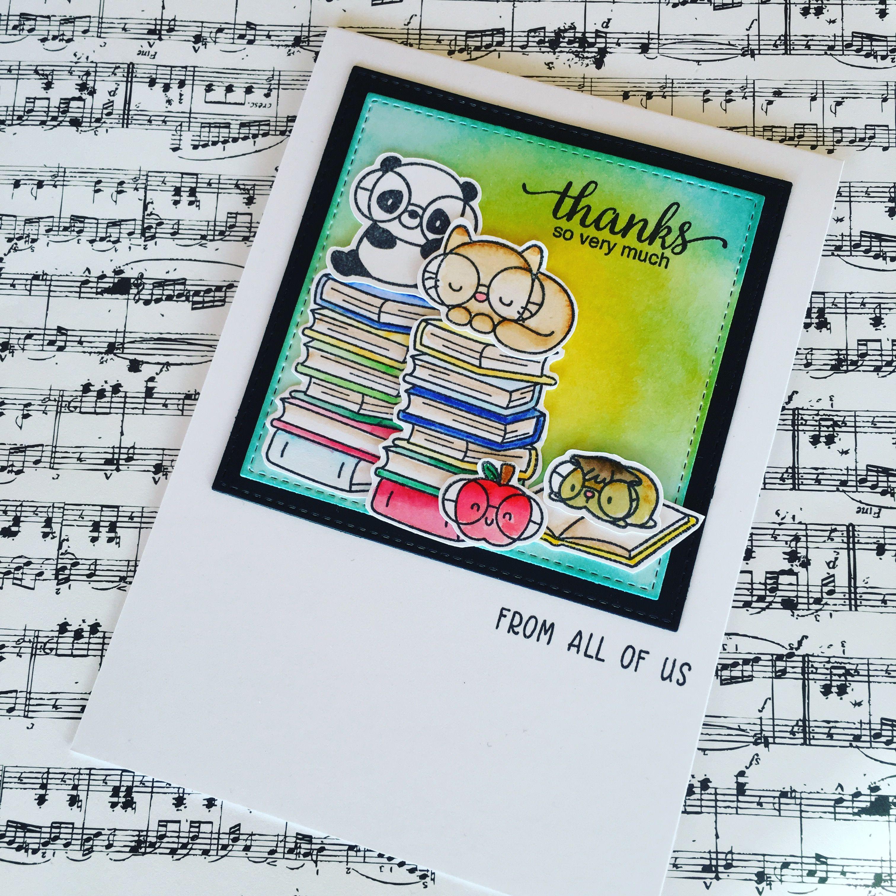 Thank You Card Made Using Mama Elephant Book Worm Stamp Set Karten Basteln Basteln Karten