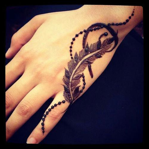Henna Tattoo Care: 19 Beautiful Feather Henna Designs You Will Love To Try