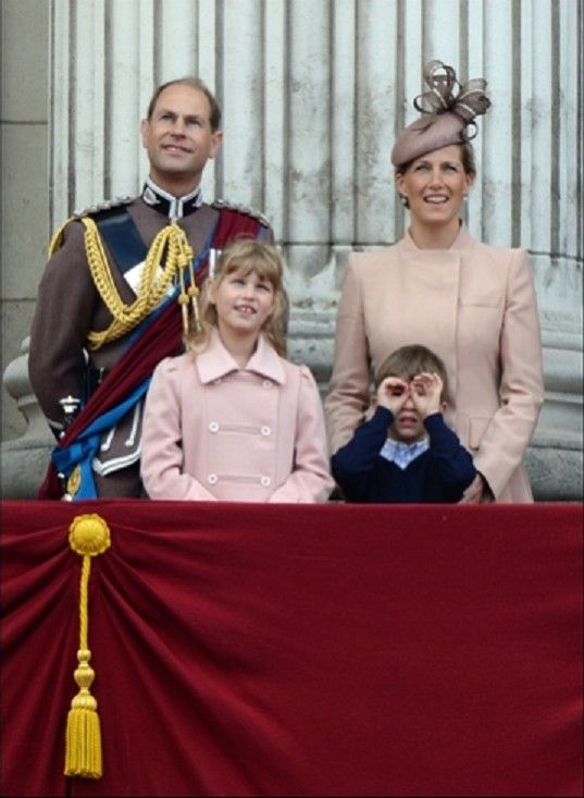 (back L-R) The Earl and the Countess of Wessex with their daughter Lady Louise Windsor and James Viscount Severn, on the Balcony of Buckingham Palace during Trooping The Colour, London, 15th June 2013.