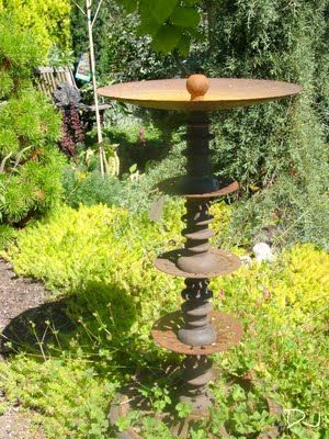 Rusty auger or drill bit upcycled into a bird bath   Metal art ...