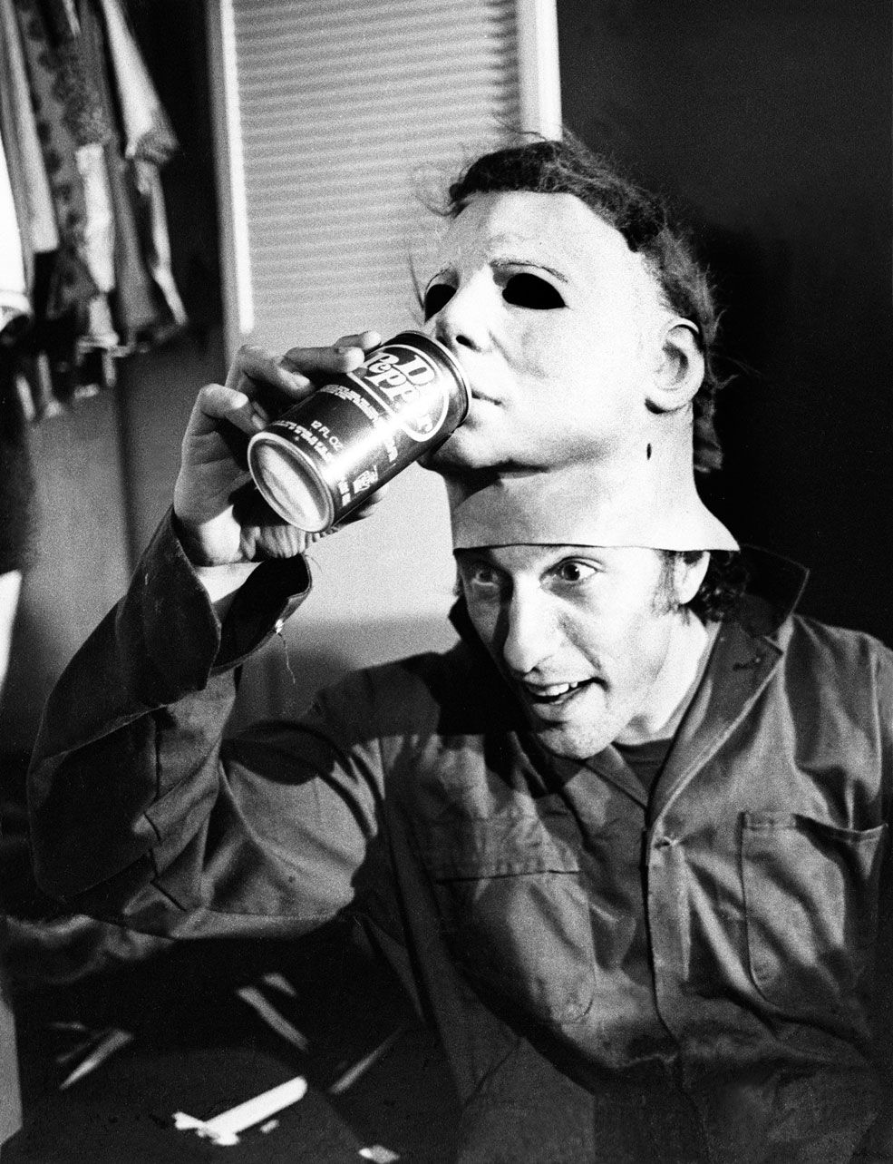 Nick Castle aka Michael Myers gives his mask a drink on the set of ...