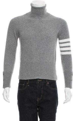 3874abcb97ee Thom Browne 4-Bar Striped Cashmere Turtleneck