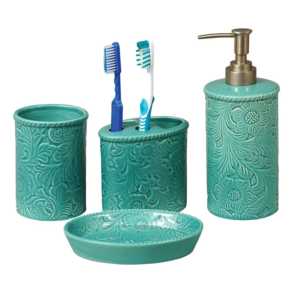 Turquoise Tooled Ceramic Bath Set 4 Pcs 50 At Lone Star Western Decor