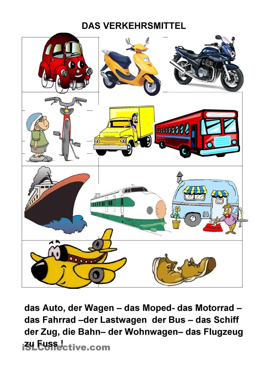 VERKEHRSMITTEL | Tysk | Pinterest | Verkehrsmittel, Schreiben ...