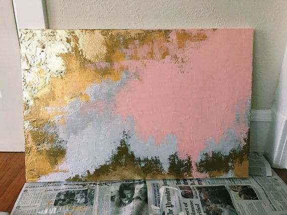 Large Rose Gold Fluid Acrylic Art Gold Leaf Abstract Painting