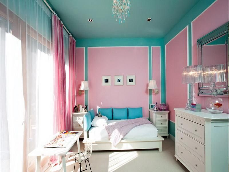 Lovely Age Bedroom Design Ideas In Pink And Teal Blue Wall Paint Color Added With Floor To Ceiling Bay Window Small White Wooden Desk