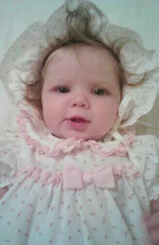 Adorable baby girl Cali in her Easter Bonnet and Dress. Sugary Sweetness!!!