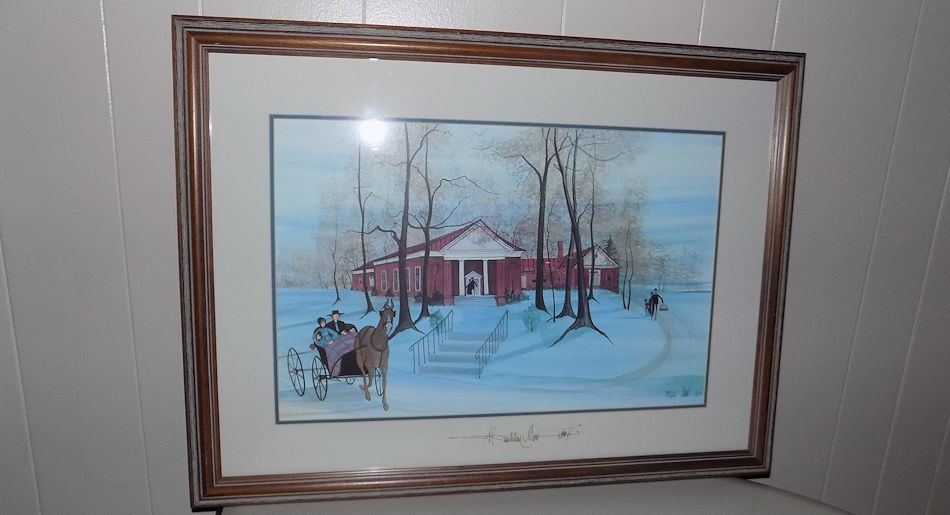 P. Buckley Moss Tinkling Springs Church signed Glass numbered print lithograph