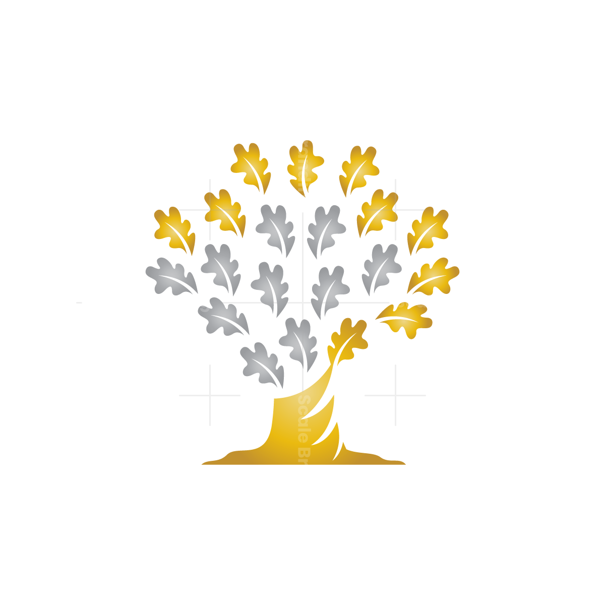 Gold And Silver Oak Tree Logo Oak Tree Logo Design Tree Logo Design Tree Logos
