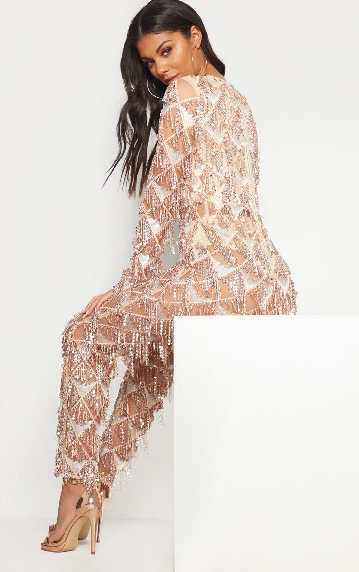 72b4318ff8 Rose Gold Tassel Sequin Plunge Jumpsuit in 2019
