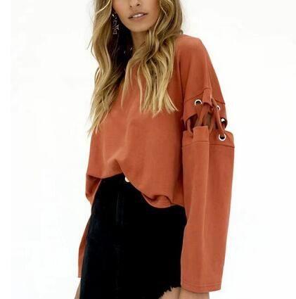 Plain black lace up top pullover sweatshirt for women  da2fd5719