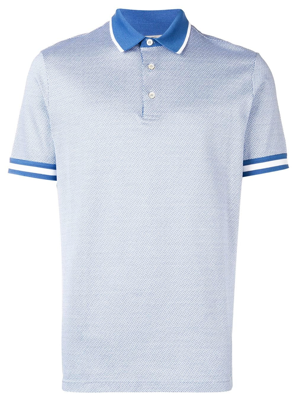 82 Of The Most Creative T Shirt Designs Ever: Canali Striped Trim Polo Shirt In Blue