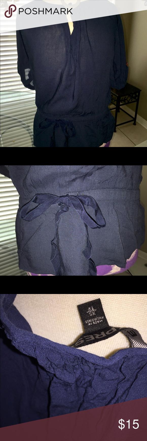Indigo blue rayon shirt Beautiful indigo blue. Rayon with elastic belted waist. Worn once Express Tops Blouses