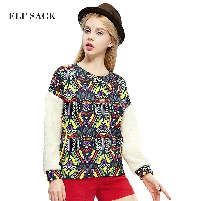 Elf SACK winter female fashion patchwork fashion print berber fleece sweatshirt